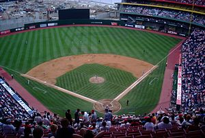 Riverfront Stadium - Cinergy Field during a Cincinnati Reds game vs. the St. Louis Cardinals on August 23, 2001. Construction of Great American Ballpark can be seen in the background.