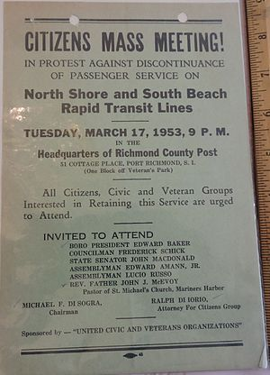 North Shore Branch - This poster, from March 1953, was for a protest against the planned discontinuance of service on the North Shore and South Beach Branches of the SIRT.