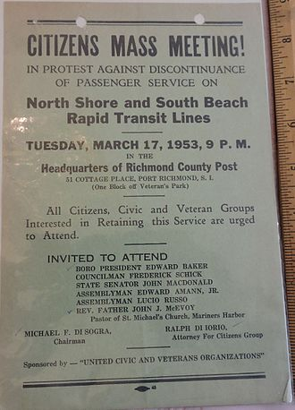 Staten Island Railway - Poster publicizing a March 1953 meeting protesting SIRT cuts