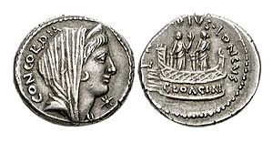 Shrine of Venus Cloacina - Denarius of L. Mussidius Longus (42 BC) showing two statues of Venus Cloacina on platform with balustrade of the shrine of Venus Cloacina (Crawford 494/42b; CRI 188a; Sydenham 1093a; Mussidia 6).