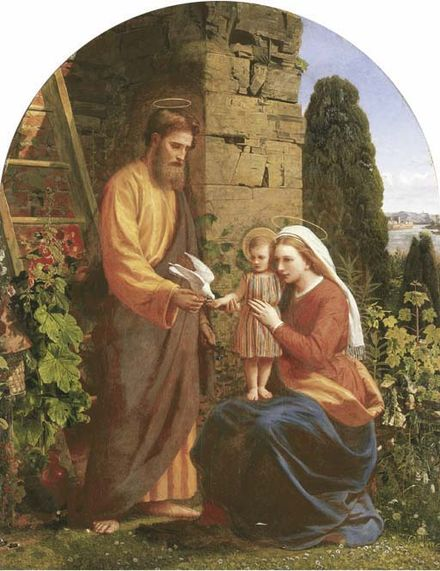 James Collinson was a convert and Pre-Raphaelite. This is his 1878 depiction of the Holy Family. Collinson, Holy Family.jpg