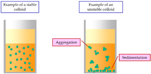 Colloid - Examples of a stable and of an unstable colloidal dispersion.