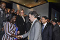 Colombian President Manuel Santos Calderon in a chat with Tourism Minister Mrs Elizabeth Ofosu-Adjare while UNWTO Secretary General Dr Taleb Rifai looks on at the opening of the 21st seeion.jpg