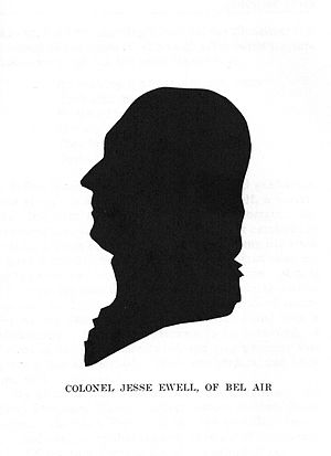 Bel Air (Woodbridge, Virginia) - Colonel Jesse Ewell (1743–1805) led the county's militia unit during the Revolutionary War. As a wealthy tobacco planter and mercantilist, he hosted many lavish events at Bel Air and entertained many notable guests, including Thomas Jefferson, a college chum, and George Washington, a cousin.