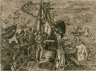 Theodor de Bry - Engraving of Columbus, the discoverer of the New World, 1594