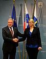 Commissioner Avramopoulos with Vesna Györkös Žnidar, Interior Minister in Slovenia, 22-10-2015 (22387156046).jpg