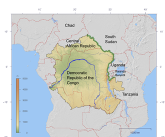Congo-Nile Divide - Congo Basin with the divide between it and the Nile Basin to the east highlighted in green.