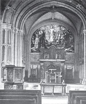 First Church Congregational (Methuen, Massachusetts) - Interior circa 1900, featuring stained glass window