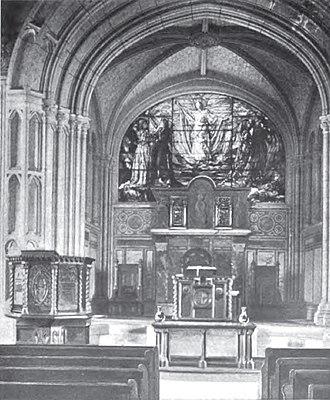 First Church Congregational (Methuen, Massachusetts) - Interior circa 1900, featuring stained glass window