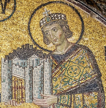Emperor Constantine I presents a representation of the city of Constantinople as tribute to an enthroned Mary and Christ Child in this church mosaic. Hagia Sophia, c. 1000. Constantine I Hagia Sophia.jpg