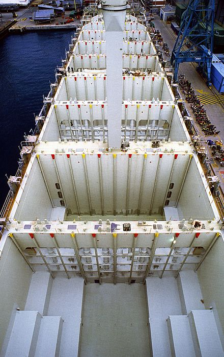 A view into the holds of a container ship. Of note are the vertical cell guides that organize containers athwartships. - Container ship