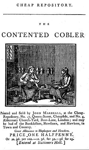 Cheap Repository Tracts - ''The contented cobler'' (1798) one of John Marshall's 'unofficial' series of tracts.