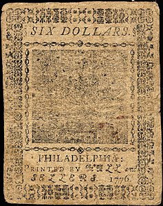 Continental Currency $6 banknote reverse (May 9, 1776).jpg