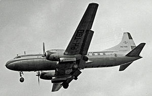 Convair CV-240 family - Convair 340 of KLM landing at Manchester (Ringway) Airport in 1954