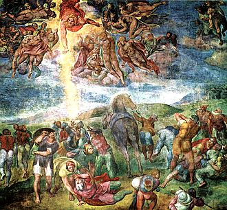 The Conversion of Saul, fresco by Michelangelo, 1542-1545 Conversion of Saint Paul (Michelangelo Buonarroti).jpg
