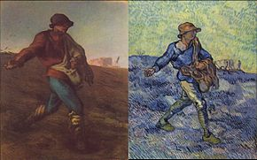 (a) Le Semeur, de Jean-François Millet; (b) Le Semeur