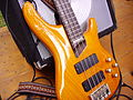 Cort Artisan Bass guitar and amplifier - close-up.jpg