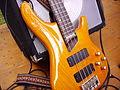 Cort Artisan Bass guitar and amplifier - close-up.jpg