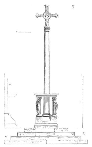...Dans le cimetière de Mezy (Marne), il existe encore une croix de ce genre dont la colonne passe à travers une tablette d'autel portée sur quatre figures d'évangélistes adossées à des colonnettes (19)... Erratum: Mézy appartient aujourd'hui au département de l'Aisne et non de la Marne