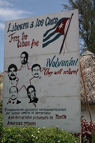 Cuban Five - Sign supporting the 'Cuban Five' in Varadero, Cuba