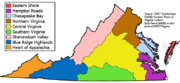 Map of nine Virginia cultural regions