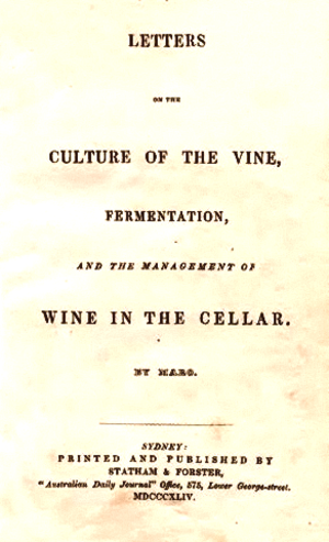 "William Macarthur - Title page of Letters on the culture of the vine, fermentation, and the management of wine in the cellar, 1844 by ""Maro"" — the pseudonym for William Macarthur."