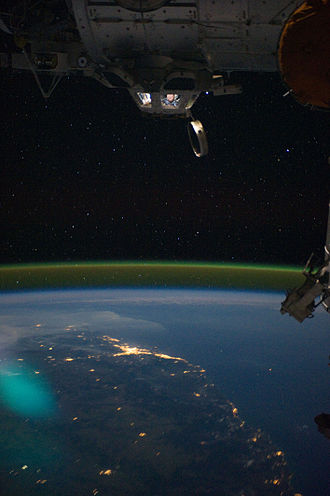 Airglow - The airglow above the horizon, captured from the ISS.