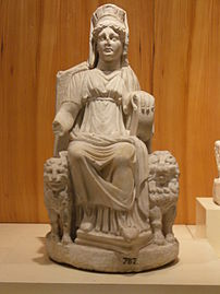 Marble statuette of Cybele wearing the polos on her head, from Nicaea in Bithynia, - (Istanbul Archaeology Museum)