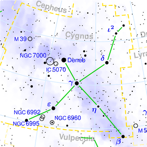 Deneb - Image: Cygnus constellation map