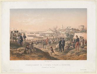 Battle of Eupatoria - Landing of the Ottoman army at Eupatoria, E. Morier, 1855