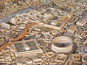 Temple of Claudius - The Temple of Claudius to the south (left) of the Colosseum (photo of the model of Imperial Rome at the Museo della Civilta Romana in Rome)