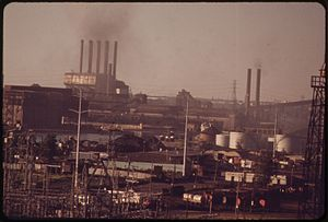 Dearborn, Michigan - Dearborn skyline with Ford River Rouge Complex in background, 1973