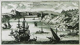 "Dabhol - View of ""Dabul"" by Jacob Peeters, 1690"