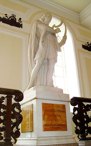 Gwyn ap Nudd - Sculpture of Dafydd ap Gwilym by W Wheatley Wagstaff at City Hall, Cardiff.