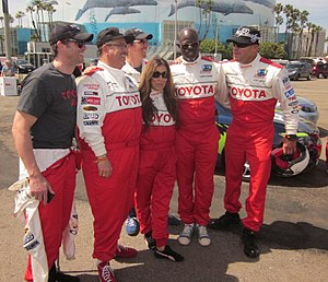 Toyota Pro/Celebrity Race - From left: Daniel Goddard, Jerry Westlund (winner of the charity auction for a seat in the race), Michael Trucco, Jillian Barberie, Djimon Hounsou and Tito Ortiz at the Toyota Grand Prix Celebrity Race 2011