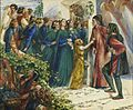 Dante Gabriel Rossetti - Beatrice Meeting Dante at a Marriage Feast, Denies Him Her Salutation 02.jpg