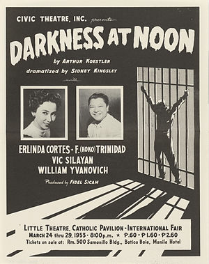 "Darkness at Noon - Handbill for a stage adaption of ""Darkness at Noon"" by Sidney Kingsley, 1953"