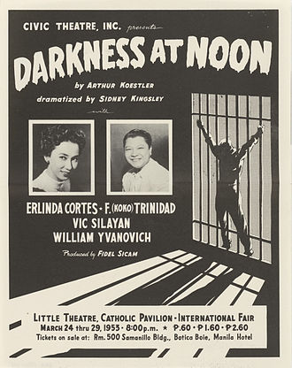 Darkness at Noon - Handbill for a stage adaption of Darkness at Noon by Sidney Kingsley, 1953