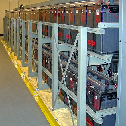 A rechargeable battery bank used as an uninterruptible power supply in a data center Datacenter Backup Batteries.jpg