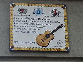 Targa commemorativa sulla casa natale di De André a Pegli in via De Nicolay, 12