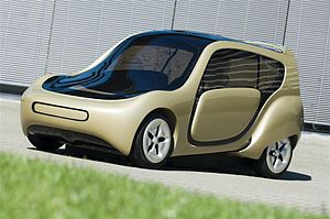 Amsterdam RAI Exhibition and Convention Centre - The c,mm,n 1.0, an electrically powered car which made its debut at the AutoRAI automobile trade show in 2007