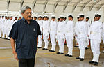 Defence Minister Manohar Parrikar inspecting Ceremonial Guard at INS Rajali, Arakkonam in 2015.jpg