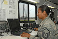 Defense.gov News Photo 100719-F-4854A-239 - U.S. Air Force Master Sgt. Alicia Gilbert with an airlift control flight coordinates and schedules military airlift operations at Bush Field in.jpg