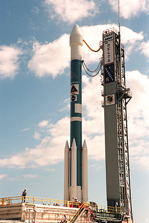 Presolar grains - Boeing Delta II rocket carrying the Stardust spacecraft waiting for launch. Stardust had a close encounter with the comet Wild 2 in January 2004 and also collected interstellar dust containing pre-solar interstellar grains.