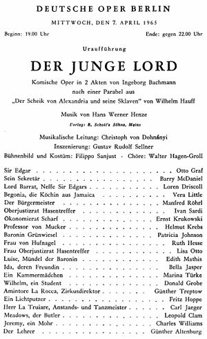 Der junge Lord - Premiere playbill, 7 April 1965, Deutsche Oper Berlin
