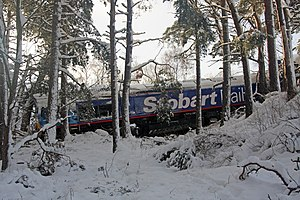 Rail accidents at Carrbridge - Derailed Class 66 locomotive 66 048 at Carrbridge