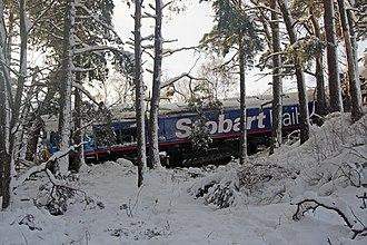 Rail accidents at Carrbridge - Derailed Class 66 locomotive 66 048 at Carrbridge