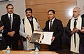 Dharmendra Pradhan and the Chief Minister of Meghalaya, Dr. Mukul Sangma at the signing ceremony of a Memorandum of Understanding between the Government of Meghalaya and Indian Oil Corporation Ltd., in Shillong.jpg