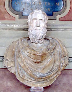 White bust of a bearded man