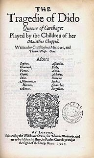 <i>Dido, Queen of Carthage</i> (play) Play by Christopher Marlowe, published 1594